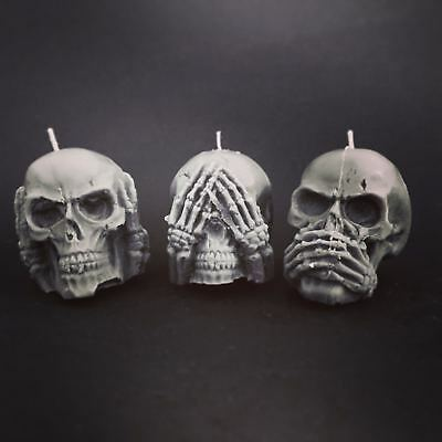 BLACK ROSE SOY CANDLES mini skull soy candle set of 3