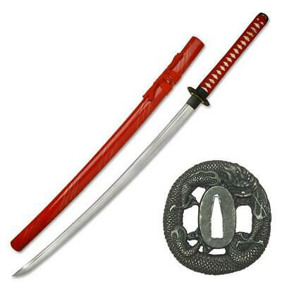 NEW War Sword Dragon Katana 1045 Hand Forged Carbon Steel Blade Live Blade Red