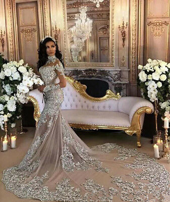 2018 Lace Mermaid Luxury Crystal Wedding Dress Bead High Neck Sheer Bridal Gowns
