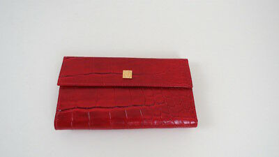 Vintage Anne Klein by St. Thomas red pigskin wallet