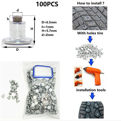 100xCar Bike Tires Studs For Holes Tire Screw Spike Wheel Tyre Snow Chains Studs