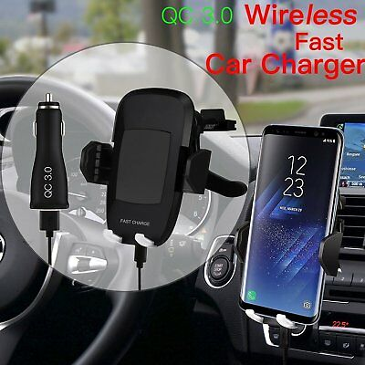 2IN1 Fast QI Wireless Charger Car Holder Mount For Samsung S8 S8+ S7 Edge+Note 8