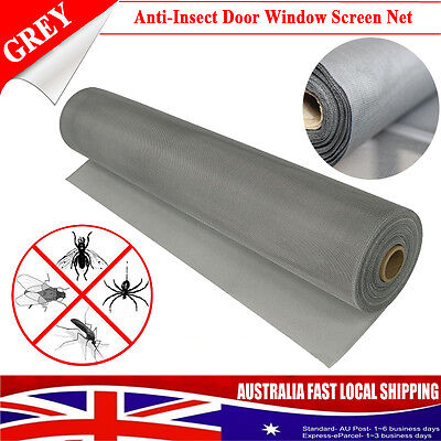 New Grey 30M*1M Roll PVC Flyscreen Insect Flywire Window Screen Net Mesh Netting