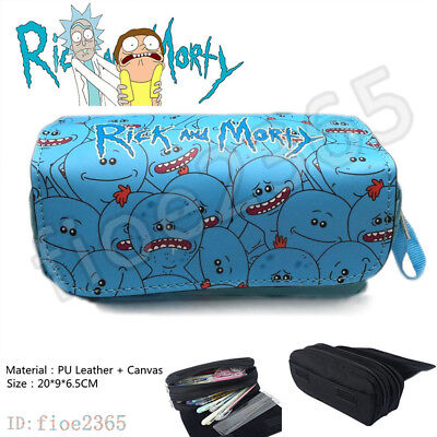 Rick and Morty Mr Meeseeks Pen Pencil Case Anime Make Up Bag Storage Bags Gift