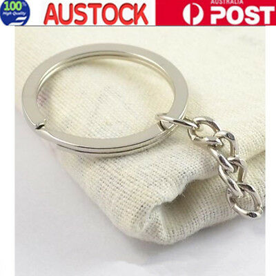 20Pcs DIY Silver Tone Keyring Blanks Key Chains with 4 Link Chain AU Stock