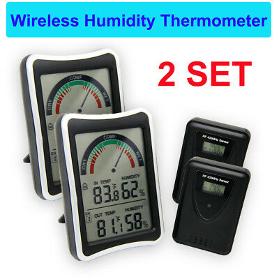 2PCs Digital Wireless Temperature Humidity Thermometer LCD Hygrometer Meter
