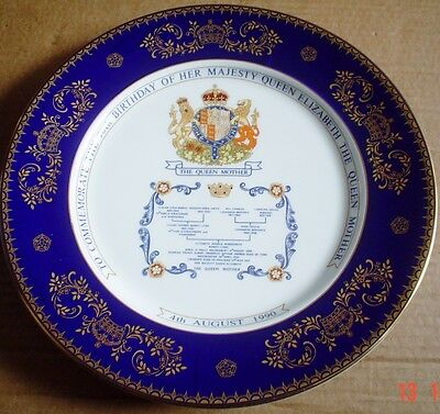 Aynsley Large Collectors Plate THE QUEEN MOTHERS 90TH BIRTHDAY PLATE