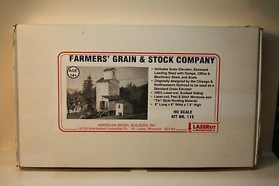 HO Scale 1:87 American Model Builders Farmers Grain & Stock Company , Laser Kit