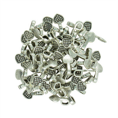 100pcs Tibet Silver Heart Glue on Bails Setting Pendant For Necklace Finding