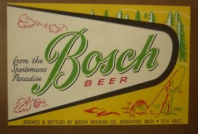 OLD USA BEER LABEL, BOSCH BREWING Co HOUGHTON MICHIGAN, BOSCH BEER 15 GALLON