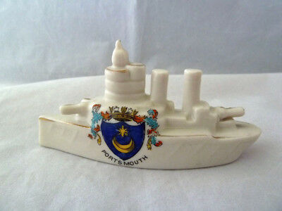 World War I Crested China Frigate - Portsmouth Coat of Arms.