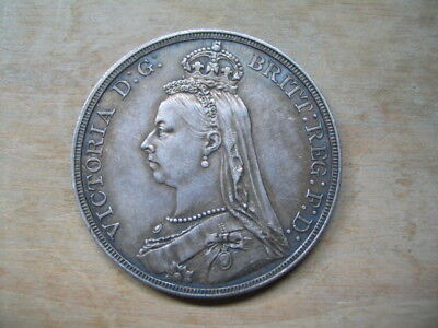 1887 CROWN - VICTORIA BRITISH SILVER COIN -  EF Condition
