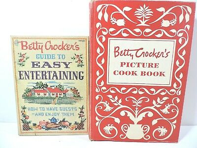 2 Vtg 1950's Betty Crocker's Picture Cook Book + Easy Entertaining First Edition