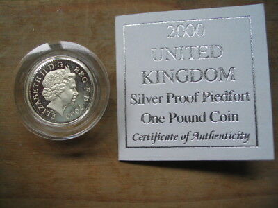 2000 united kingdom siver proof piedfort one pound coin