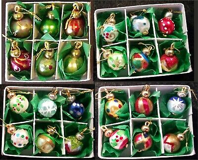 1:12 Painted Miniature Christmas Tree Baubles Ornament Doll House in box, 4 sets