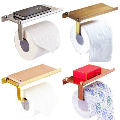 Wall Mounted Bathroom Toilet Tissue Paper Roll Holder Stand with Shelf Dulcet