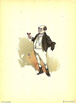 "Mr Pickwick by Kyd 1899 from Charles Dickens The Pickwick Papers 7x5/"" Reprint"