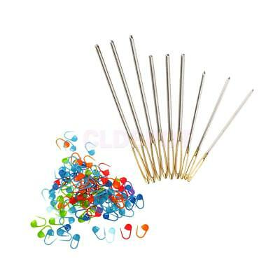 100pcs Locking Stitch Markers Knitting Counter with 9 Large-Eye Blunt Needle