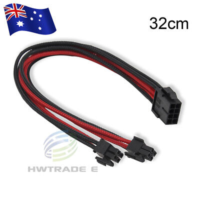 8pin Female to 8pin(4+4) Male PCI-E Power Supply Extension Cable Black/Red 32cm