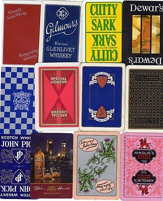 "12 Different OLD & NEW ""Whisky"" SINGLE Playing Cards"