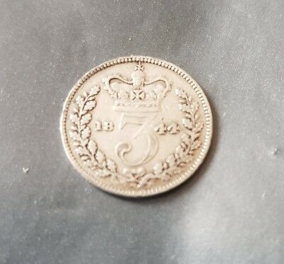Victoria 1844 threepence (rare date) Silver Coin 3d 99p start