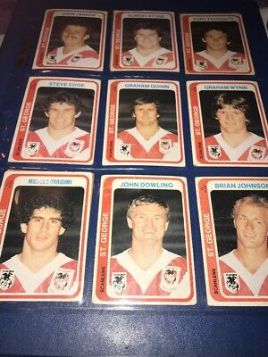 1979 Scanlens Rugby League Cards St George Dragons 9 In Total