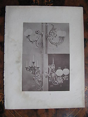 Angel Glass Shade Gas  Wall Sconce Light Fitting   c1870 Photogravure
