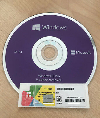 Licenza Windows 10 Professional + Dvd 32-64Bit Label Sticker Coa Microsoft
