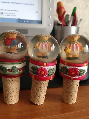 christmas cork bottle wine stoppers x3