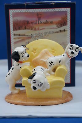 Royal Doulton Disney 101 Dalmations Pups In Armchair Mib