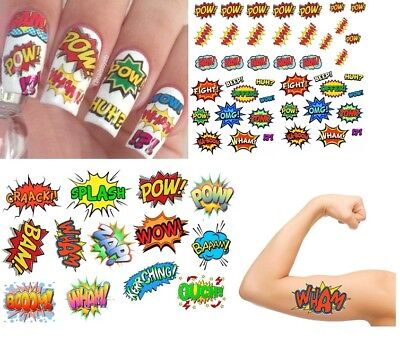 Comic Collection Nail Art -  Temporary Tattoos