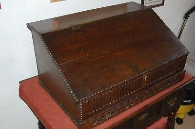 Late 17th Century English Oak Reading Slope and 4 Internal Drawers Lovely Patina