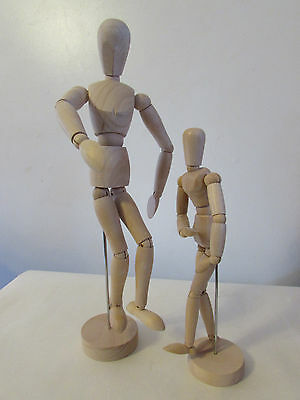 "2-Artist Wooden Mannequin Manikin 12'' and 8"" inch for drawing and more!"