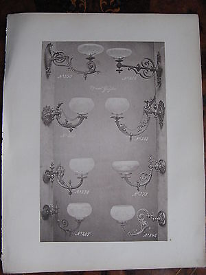 8 Glass Shade Gas  Wall Sconce Light Fitting   c1870 Photogravure