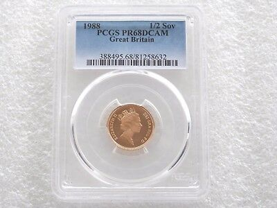 1988 Royal Mint St George Dragon Gold Proof Half Sovereign Coin PCGS PR68 DCAM