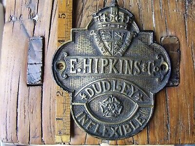 Old English Cast Brass Safe Plate Hipkins & Co Dudley Sign Advertising