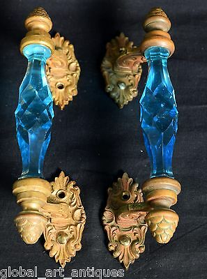 Pair of Vintage Brass Rare Victorian Cut Blue Glass Door Handle Decor. G73-49