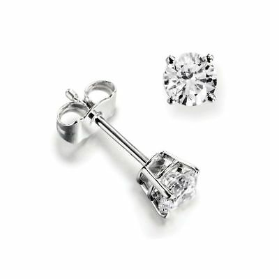 1ct 9K White Gold VS/ FG GENUINE Round Moissanite Diamond Stud Earrings