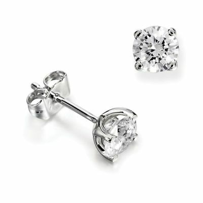 1ct Platinum VS/ FG GENUINE Round Moissanite Diamond Stud Earrings