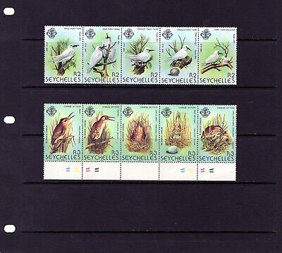 SEYCHELLES Chinese Bittern & Fairy Tern , strips of 5 Mtd MINT