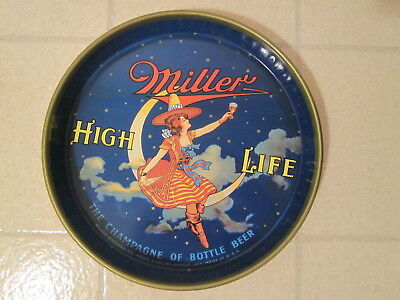 Vintage MILLER HIGH LIFE Beer Tray Girl On Moon Advertising Milwaukee Brewery