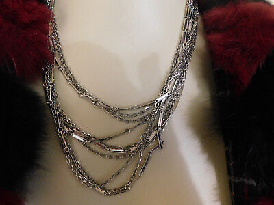 Vintage SARAH COVENTRY Silver NECKLACE Multi Chain BEAUTIFUL!!