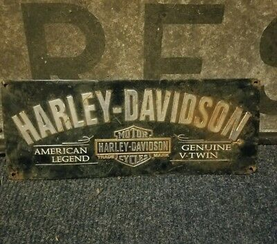 Vintage old Harley davidson dealer sign metal gas oil motorcycle rare