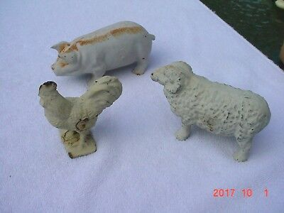 3 Vintage Cast Iron Farm Animals PIG SHEEP & ROOSTER