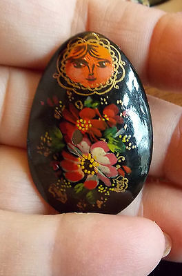 Russian Vintage Hand Painted Red Christmas Flowers Matreshka Doll Laquer Brooch
