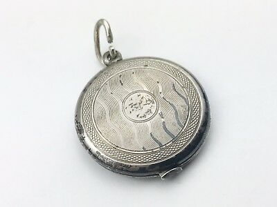 Vintage Solid Silver Art Deco Locket Large Engine Turned Round Photo Pendant
