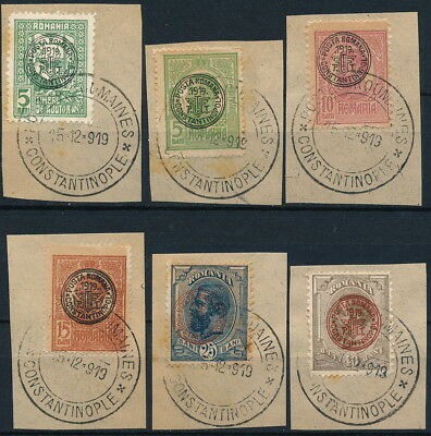 Turkey 1919, Romania Levant In Constantinople, 6 Used Values On Fragments #e938