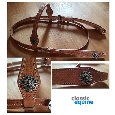 Western Headstall - Straight Brow with Basket Weave Tooling & Conchos