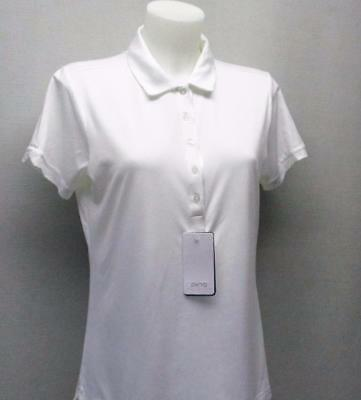 New Ladies Size US 10/MED PING Elva short sleeve white polo golf shirt polyester