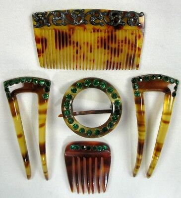 Vintage Five Piece Set Of Faux Torti  Green Rhinestone Jeweled Hair Combs